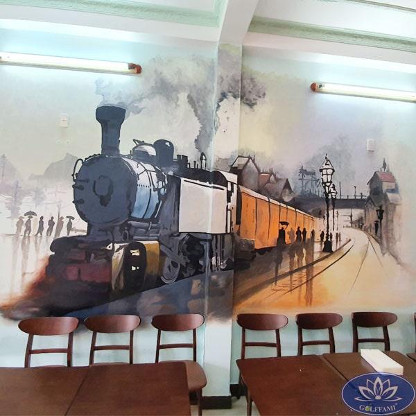 Hình ảnh đoàn tàu mang phong cách cổ điển tại coffee golf Đà Nẵng